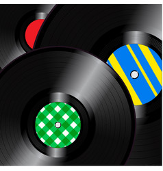 vinyl records square background vector image