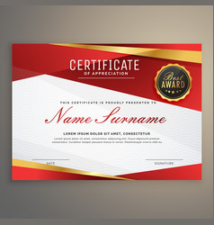 Premium red certificate diploma design award vector