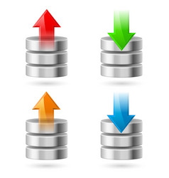 Computer database with upload and download arrows vector