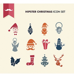 Hipster merry christmas icons set eps10 file vector