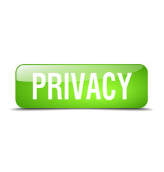 Privacy green square 3d realistic isolated web vector