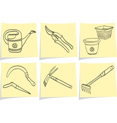 Gardening tools on yellow memo vector