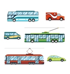 City transport flat icons vector