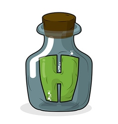 H in laboratory bottle letter in magic pot with a vector