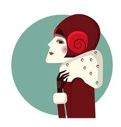 Vintage woman portrait in fashion hat and winter vector