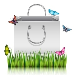 Gray paper bag vector hanging white paper against gray background