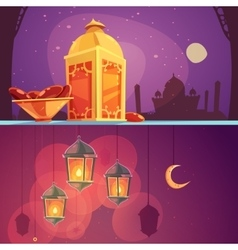 Ramadan cartoon banners vector
