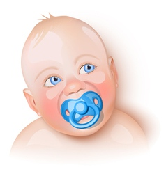 Cute baby with pacifier vector