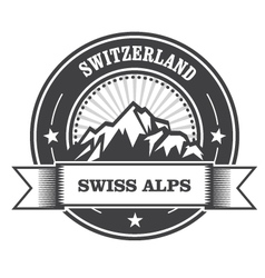 Alps Mountains stamp - Switzerland label vector image vector image