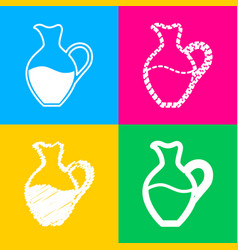 amphora sign four styles of icon on four color vector image vector image
