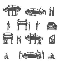 Auto mechanic black icons set vector image vector image