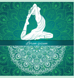 beautiful woman in yoga pose on a ethnic vector image vector image