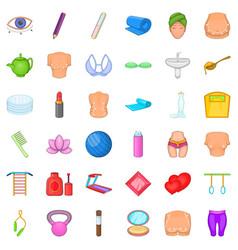 Beauty icons set cartoon style vector