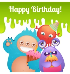 Birthday monsters card vector image vector image
