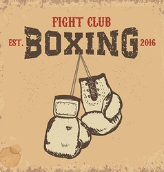 Boxing club boxing gloves on grunge background vector