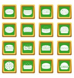 Burger icons set green vector