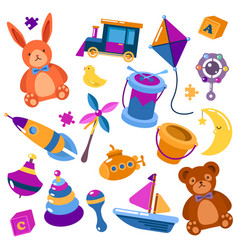 Children or kids isolated toys teddy bear vector