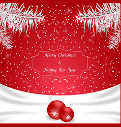 Christmas card of red color with white silk on vector