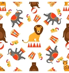 Circus animals and food seamless pattern vector image vector image