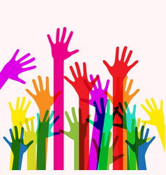 colorful human hands vector image vector image