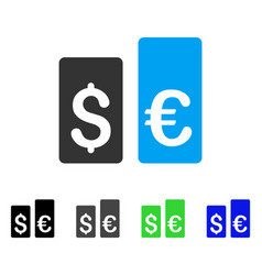 Currency rate bars flat icon vector