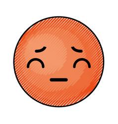Cute orange kawaii emoticon face vector