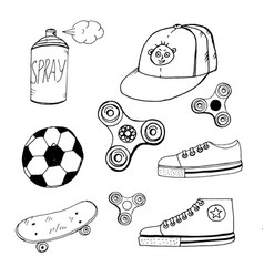 Doodle spinner cap aerosol paint ball sneakers vector