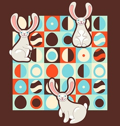 Easter with retro style eggs and cute bunnies vector image