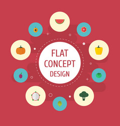 Flat icons melon slice apricot gourd and other vector