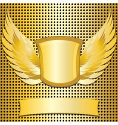 gold shield and wings vector image vector image