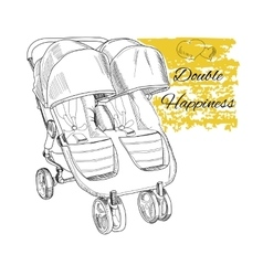 Hand drawn stroller for twins double happiness vector