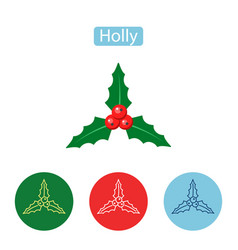 holly berry christmas decorations and symbol vector image