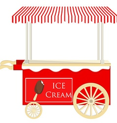 Ice cream red cart vector