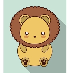 Kawaii lion icon cute animal graphic vector