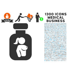 Lady breast vial icon with 1300 medical business vector