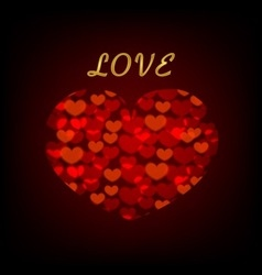 love background with hearts on blackboard vector image