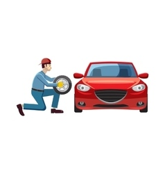 Mechanic changing wheel on red car icon vector