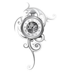 Pocket watch tattoo vector