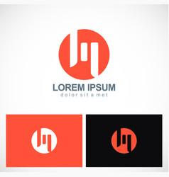 round letter m shape logo vector image