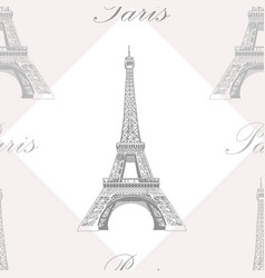 Seamless pattern with eiffel tower on grey and vector