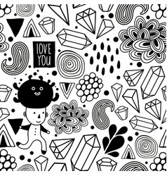 Seamless pattern with strange creatures in black vector