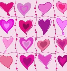 set of cartoon hearts vector image