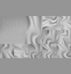Silver textile drapery horizontal backgrounds set vector