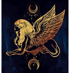 Sphinx beautiful beast with moons vector