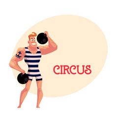 Strongman strong man circus performer vector