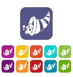 Thanksgiving cornucopia icons set vector