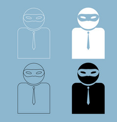 the man incognito in a mask the black and white vector image vector image