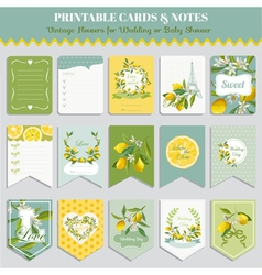 Vintage Lemon Flowers Card Set Birthday Wedding vector image vector image
