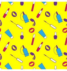 Yellow purple and pink makeup seamless pattern for vector
