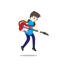 Young boy playing electric guitar happy love vector